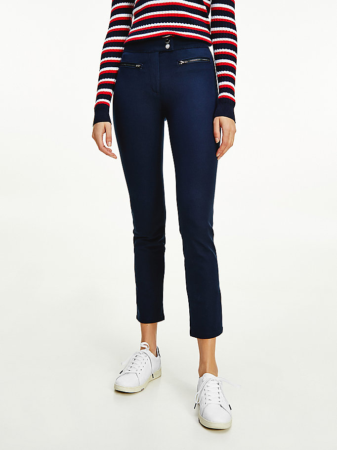 blue mid rise slim ankle length leggings for women tommy hilfiger