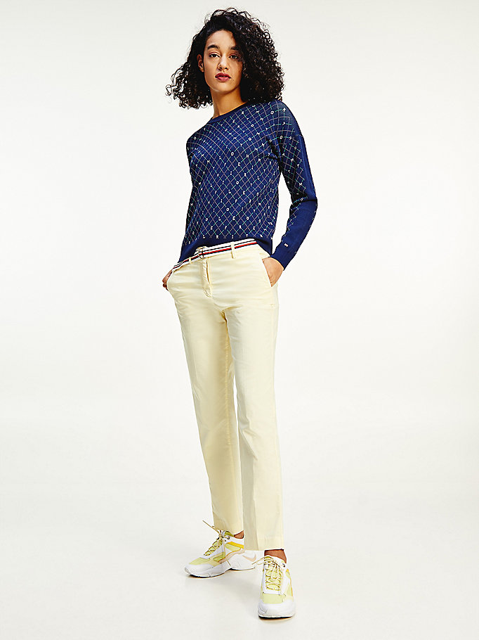 yellow slim fit chinos for women tommy hilfiger