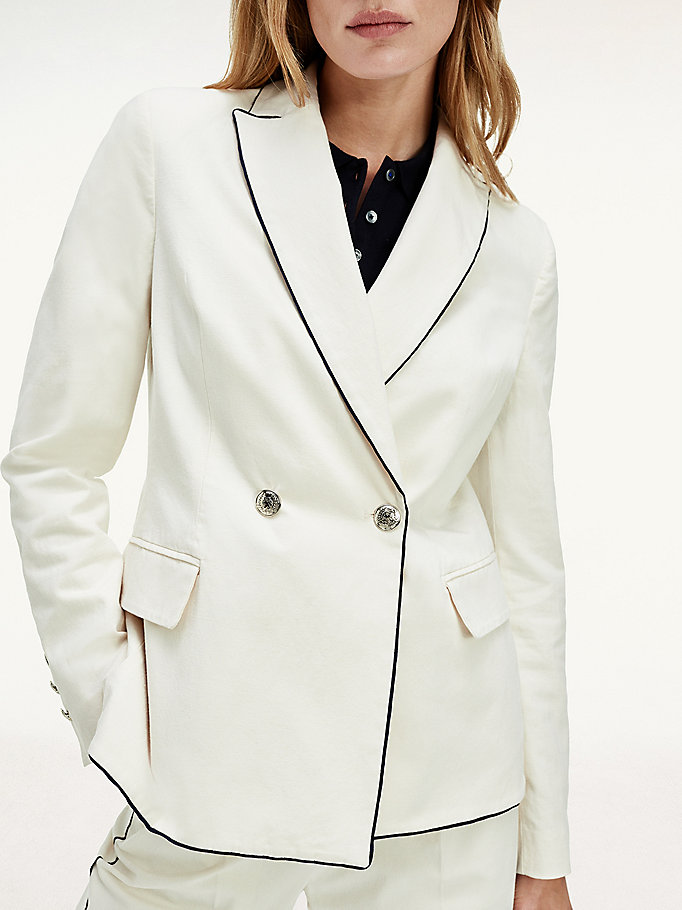white double breasted contrast trim blazer for women tommy hilfiger