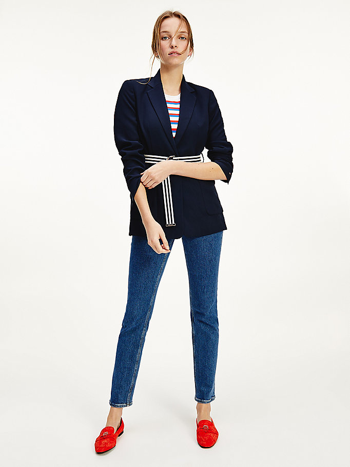 blue single breasted crepe blazer for women tommy hilfiger