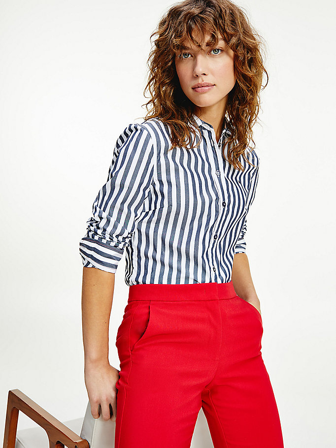 blue organic cotton stripe shirt for women tommy hilfiger