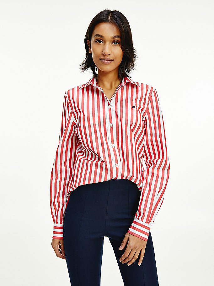 red organic cotton stripe shirt for women tommy hilfiger