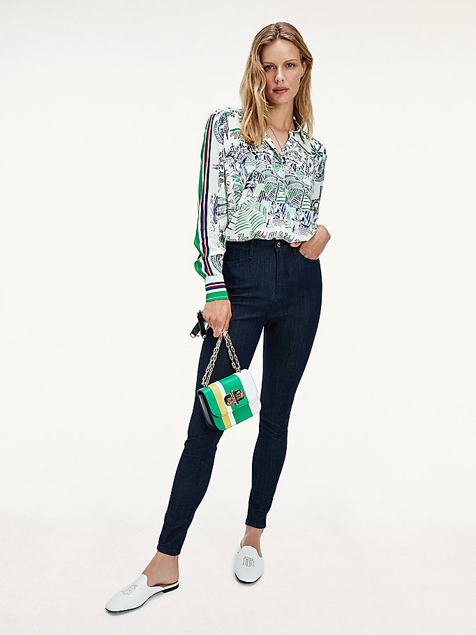 green scarf print relaxed fit silk blouse for women tommy hilfiger