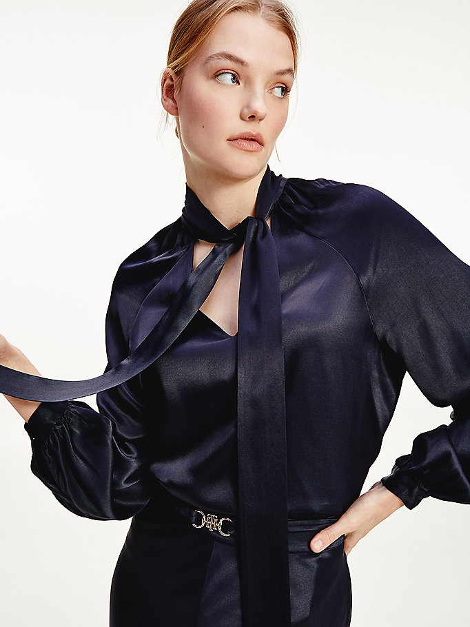blue tie neck satin blouse for women tommy hilfiger