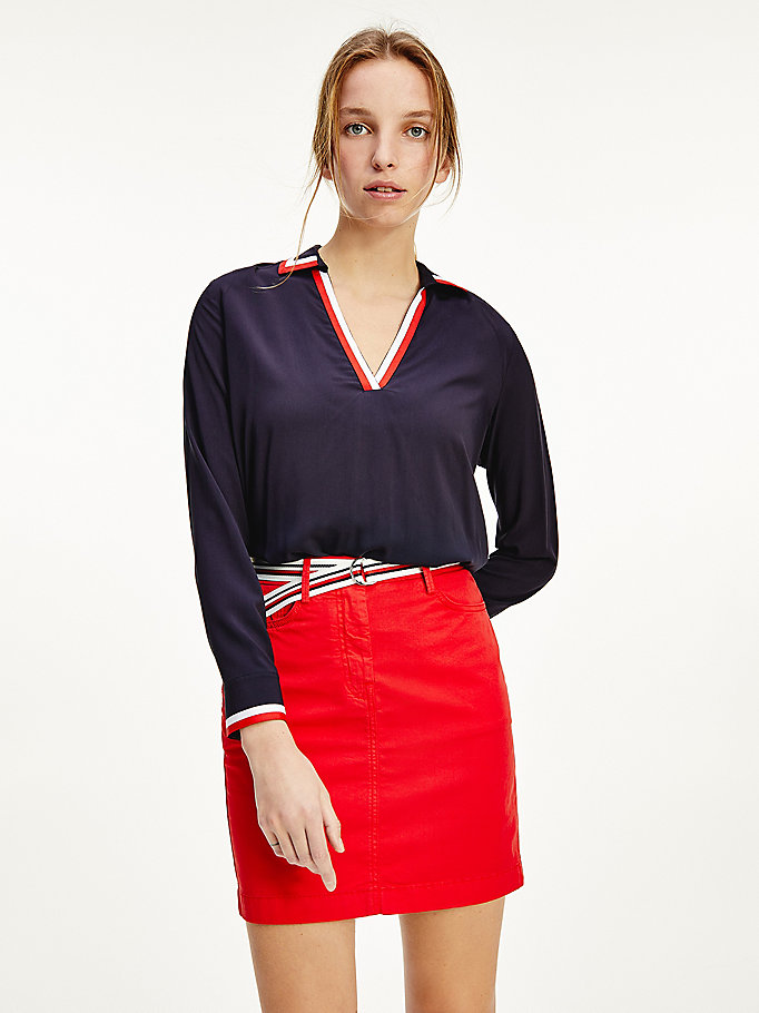 blue viscose v-neck popover blouse for women tommy hilfiger