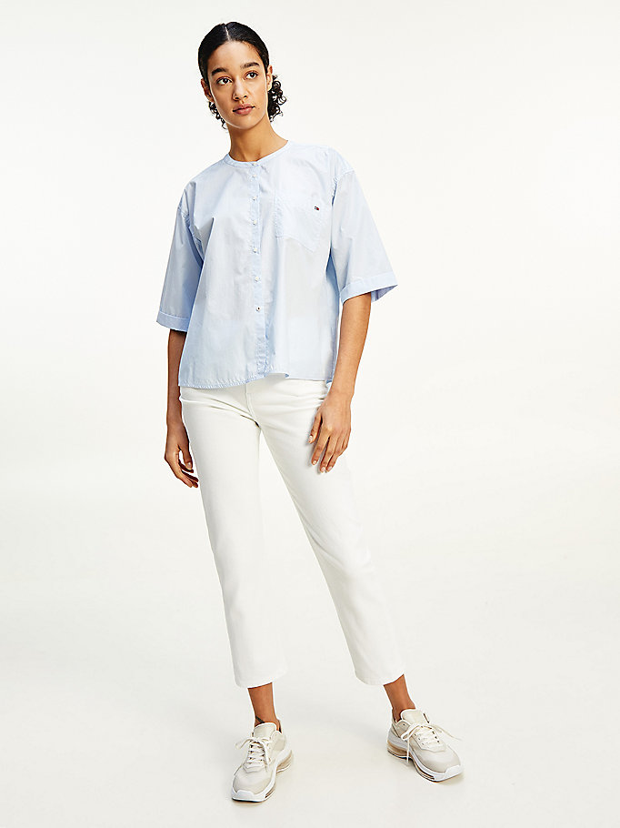 blue patch pocket collarless relaxed fit shirt for women tommy hilfiger