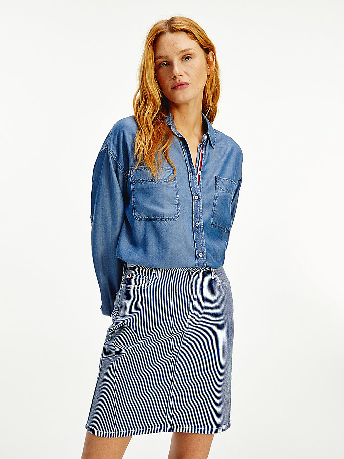 denim chambray relaxed fit blouse voor dames - tommy hilfiger