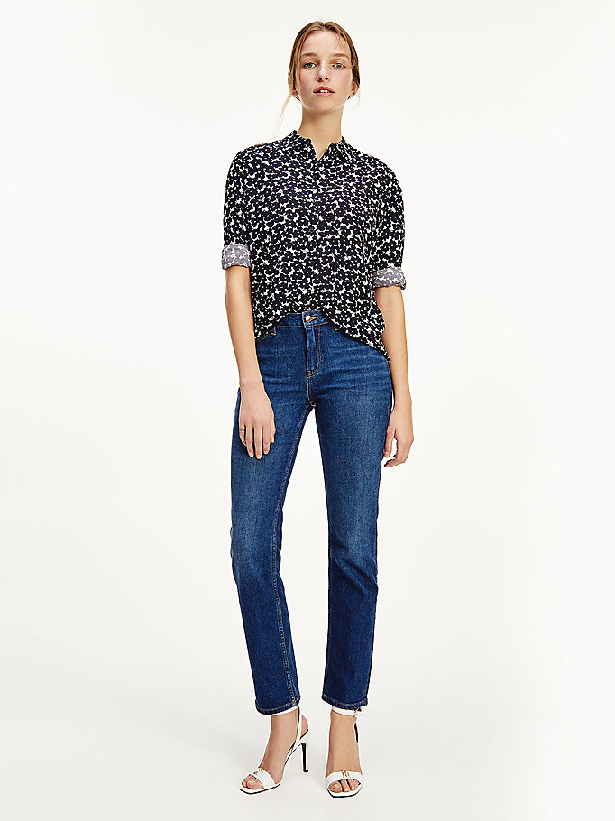 blue geometric print viscose shirt for women tommy hilfiger