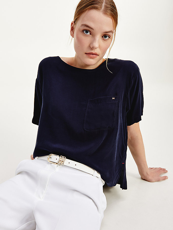 blue relaxed fit pocket blouse for women tommy hilfiger