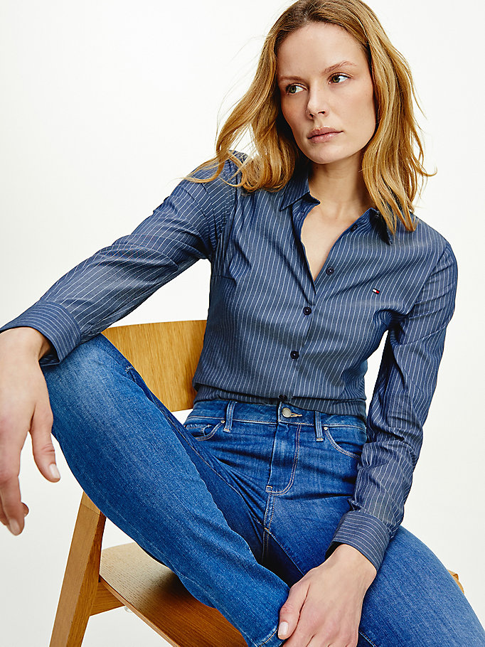 blue all-over stripe slim fit shirt for women tommy hilfiger