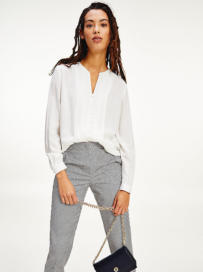 white viscose poplin pintuck detail blouse for women tommy hilfiger