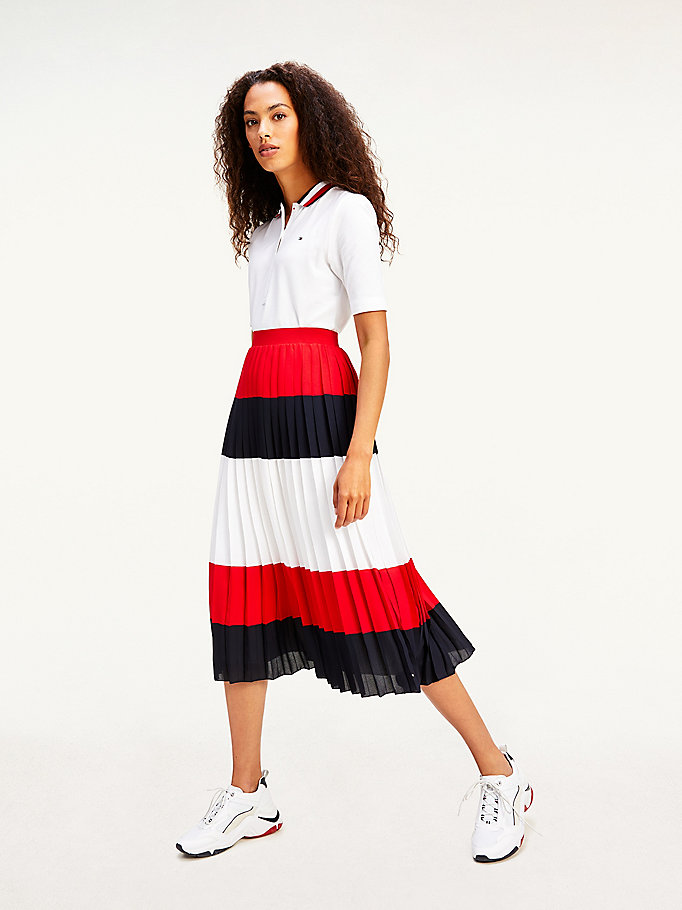 rot color block-faltenrock in midi-länge für damen - tommy hilfiger