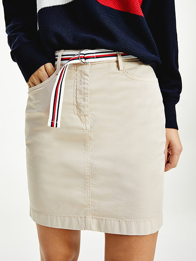beige rome slim short skirt for women tommy hilfiger