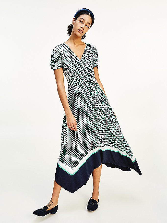 green geo print v-neck midi dress for women tommy hilfiger