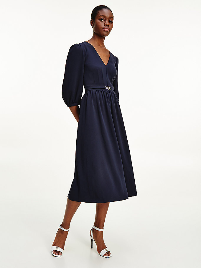 blue horsebit belt fitted midi dress for women tommy hilfiger