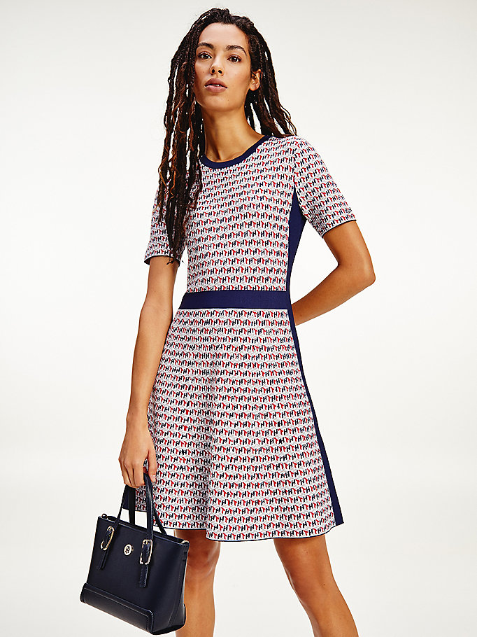 red monogram print mini dress for women tommy hilfiger