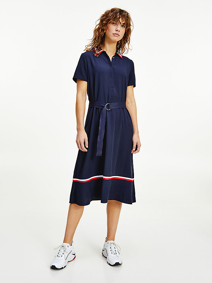 blue viscose fit and flare shirt dress for women tommy hilfiger