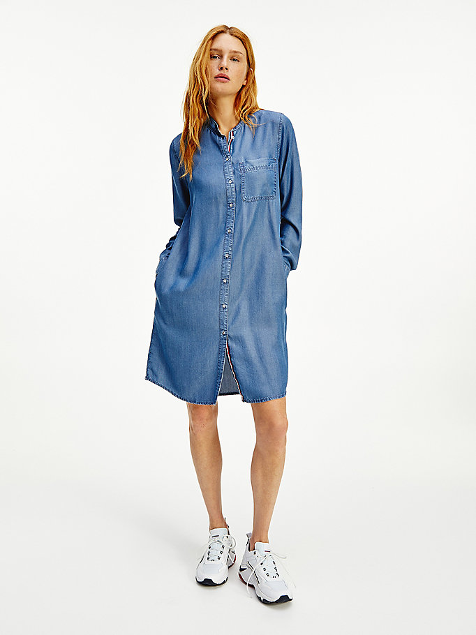 denim relaxed fit chambray-hemdkleid für damen - tommy hilfiger