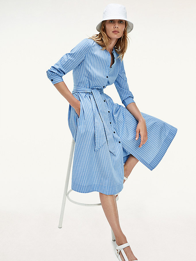 blue stripe midi shirt dress for women tommy hilfiger