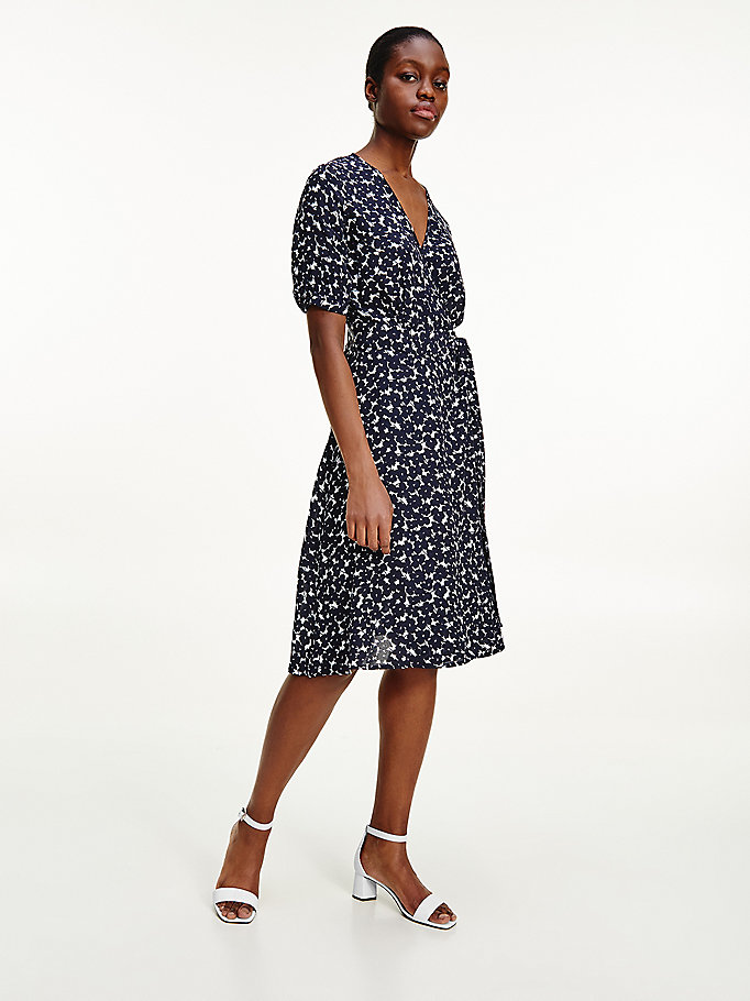 blue floral crepe wrap dress for women tommy hilfiger