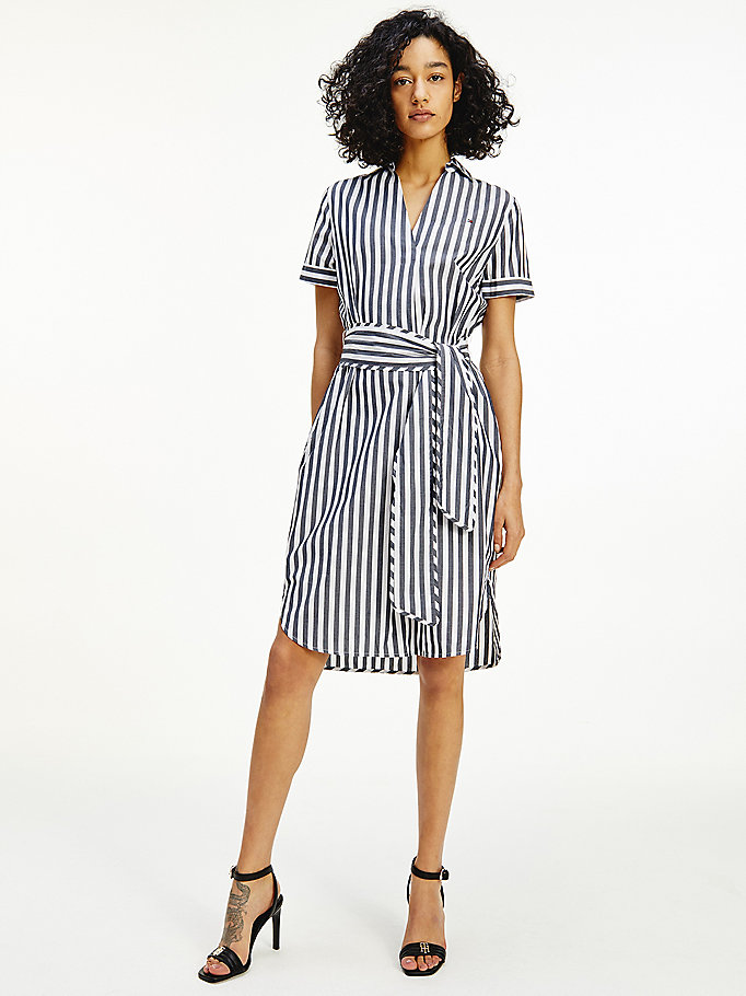 blue stripe belted shirt dress for women tommy hilfiger