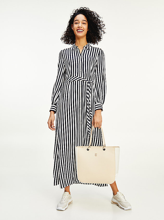 blue stripe belted viscose shirt dress for women tommy hilfiger