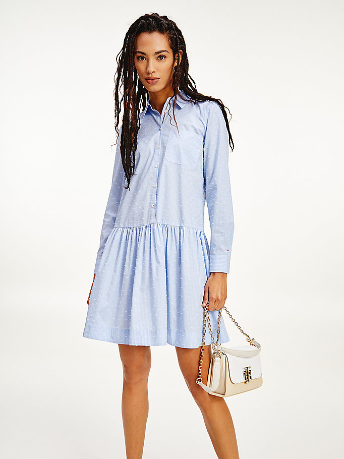 blue dobby stripe relaxed shirt dress for women tommy hilfiger