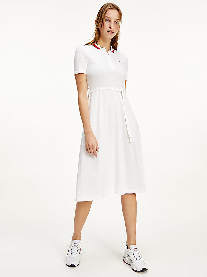wit fit and flare midi-polojurk voor dames - tommy hilfiger