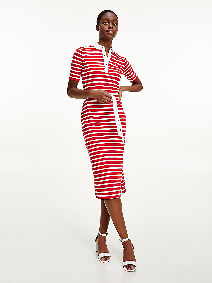 red breton stripe midi polo dress for women tommy hilfiger