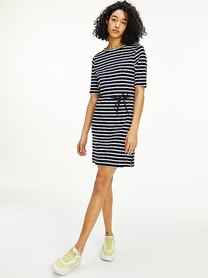 blue horizontal stripe half sleeve dress for women tommy hilfiger