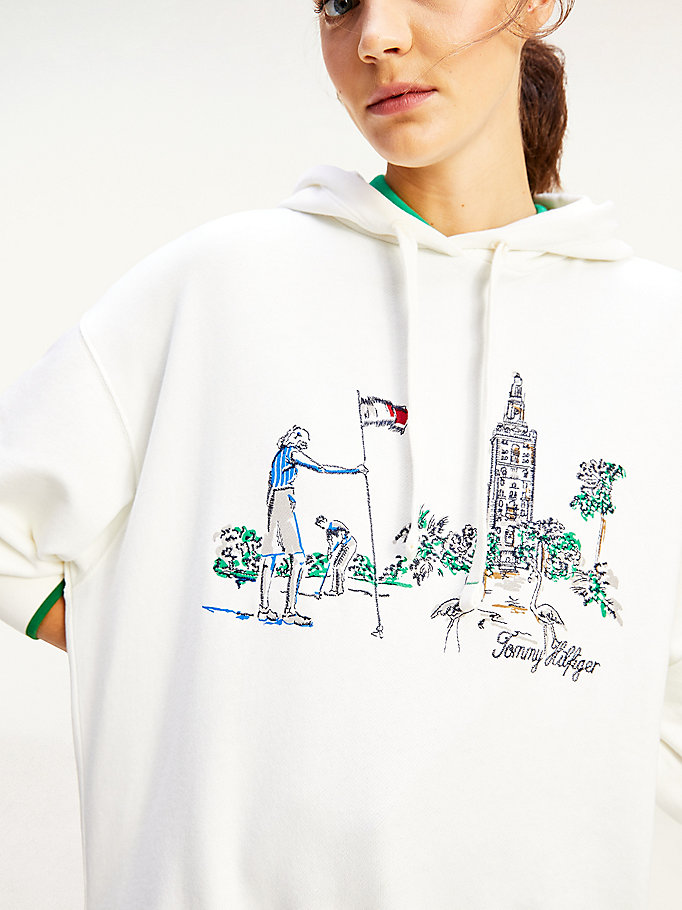 white golf embroidery oversized hoody for women tommy hilfiger