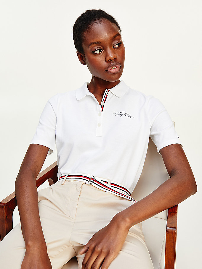 white signature logo regular fit tommy polo for women tommy hilfiger