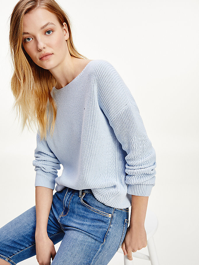 blue rib-knit organic cotton jumper for women tommy hilfiger