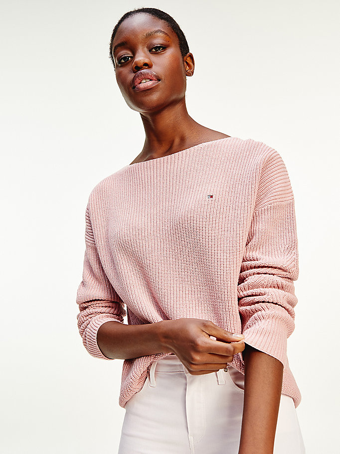 pink rib-knit organic cotton jumper for women tommy hilfiger