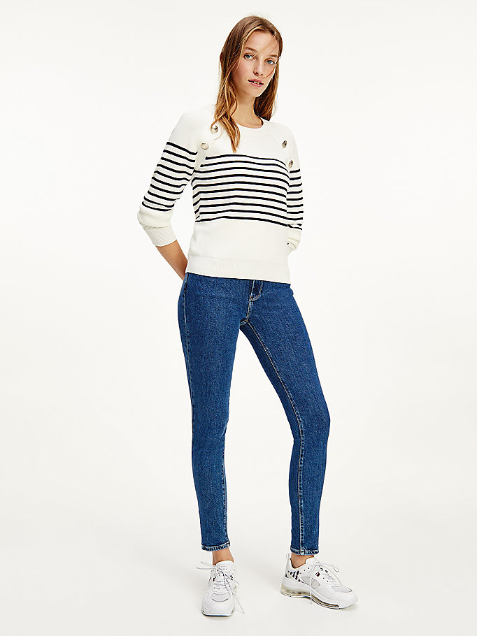 white button stripe ribbed jumper for women tommy hilfiger