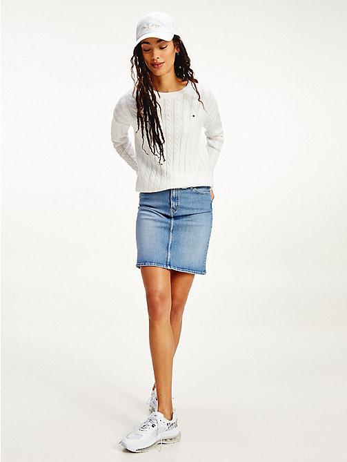 Tommy Hilfiger Col rond Femme Sweater Pull Pull Bleu clair XXS-XXL