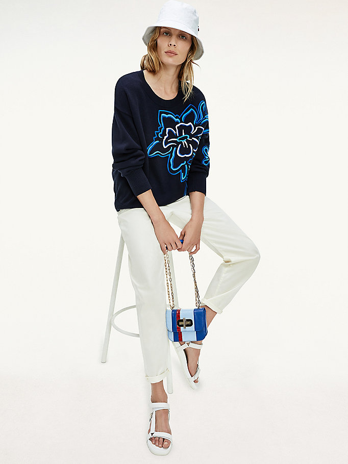 blue floral applique organic cotton jumper for women tommy hilfiger