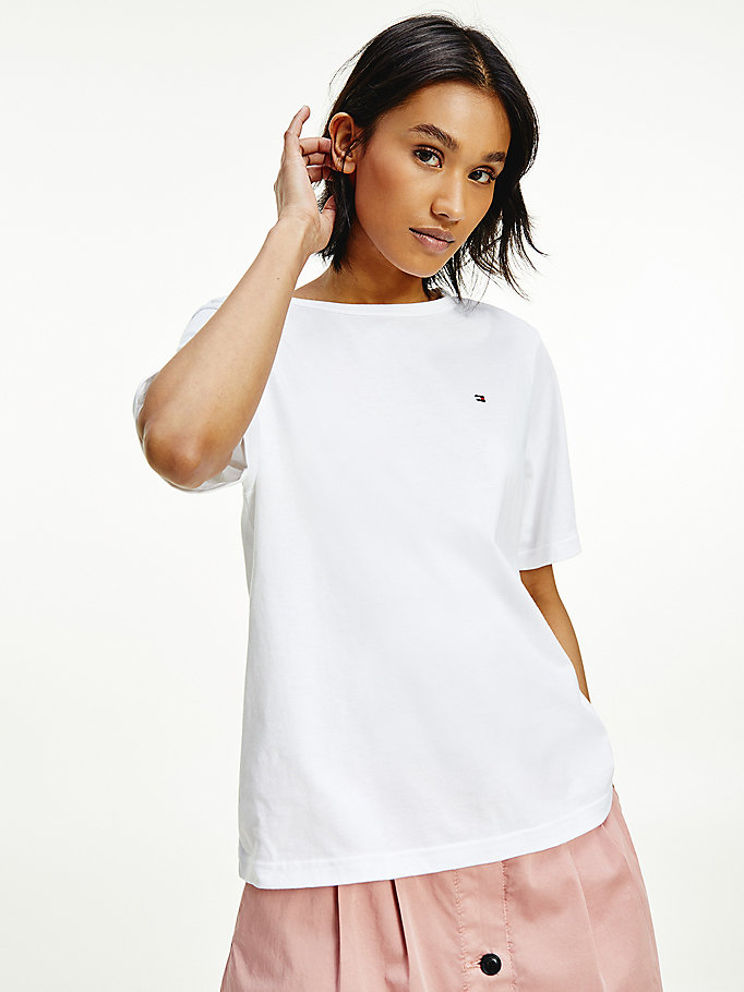 white organic cotton relaxed t-shirt for women tommy hilfiger