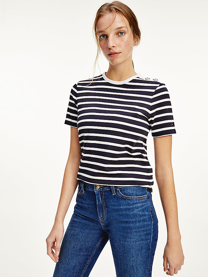 blue stripe button shoulder t-shirt for women tommy hilfiger