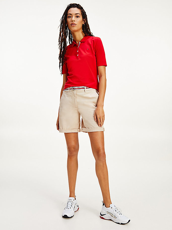 beige mid rise chino shorts for women tommy hilfiger