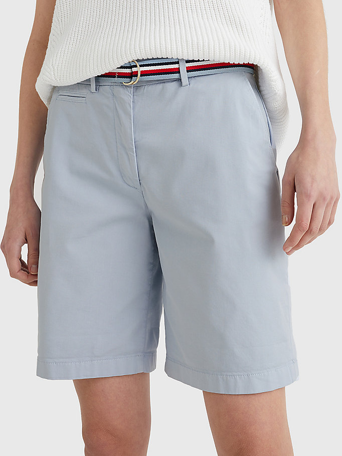 blauw mid rise chino short voor dames - tommy hilfiger