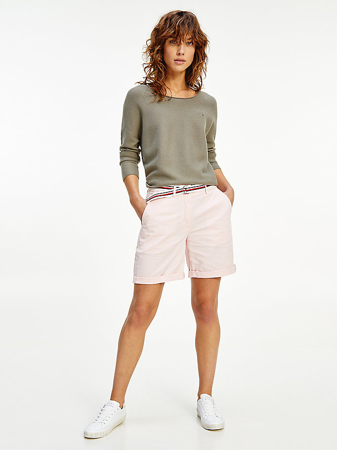 roze mid rise chino short voor dames - tommy hilfiger
