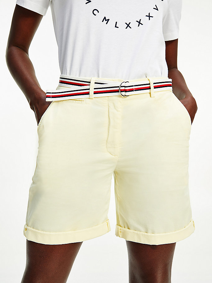 yellow mid rise chino shorts for women tommy hilfiger