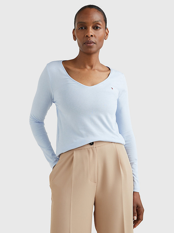 blue organic cotton long sleeve v-neck t-shirt for women tommy hilfiger