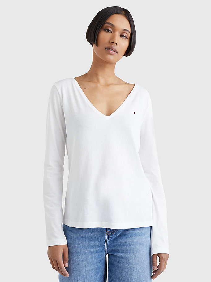 white organic cotton long sleeve v-neck t-shirt for women tommy hilfiger