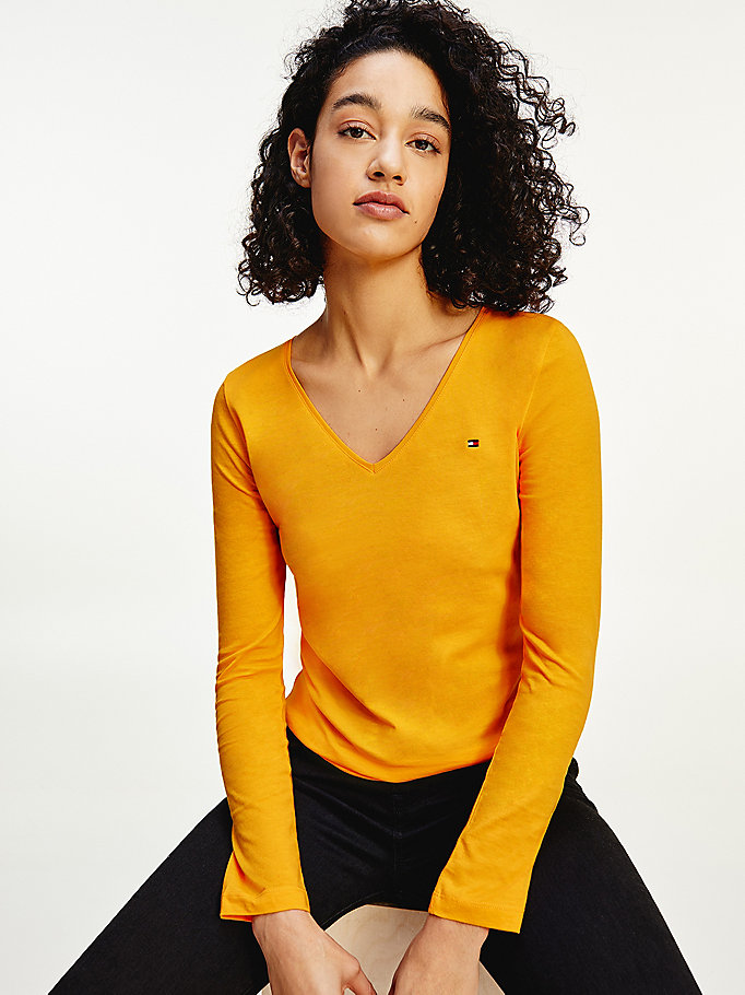 yellow organic cotton long sleeve v-neck t-shirt for women tommy hilfiger