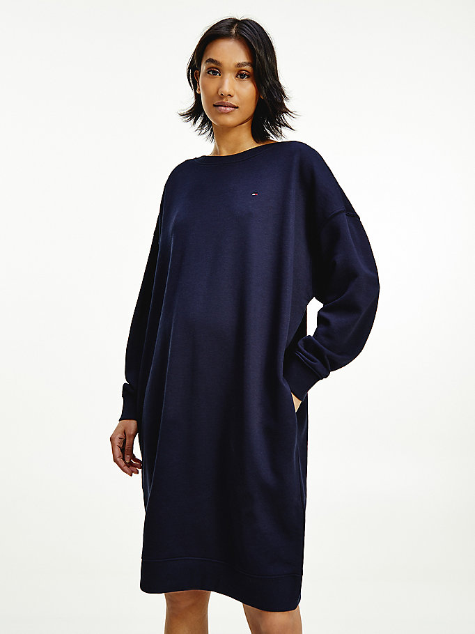 blue oversized fit shift dress for women tommy hilfiger