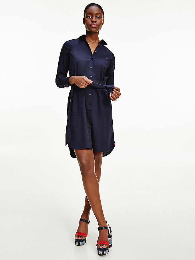 blue poplin knee length shirt dress for women tommy hilfiger