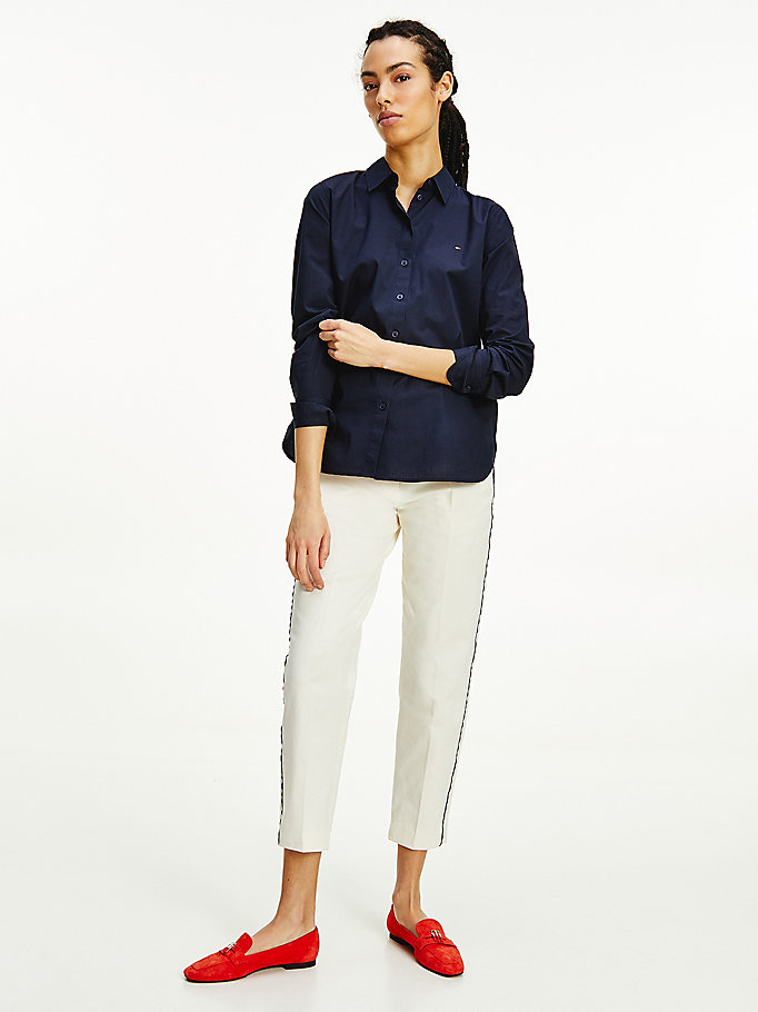 blue signature tape relaxed fit shirt for women tommy hilfiger