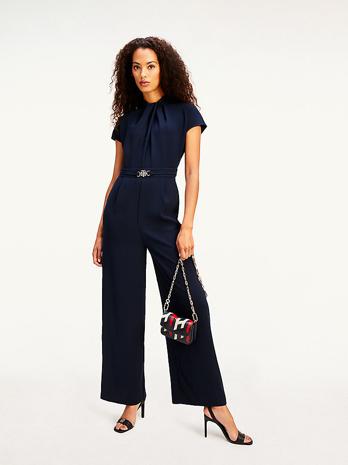 blue monogram buckle fitted crepe jumpsuit for women tommy hilfiger